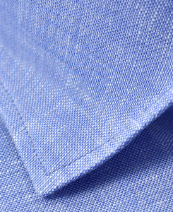 Closeup of blue linen shirt