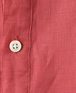Close up of red linen shirt