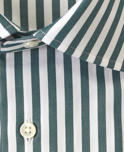Close up of green stripe cotton shirt