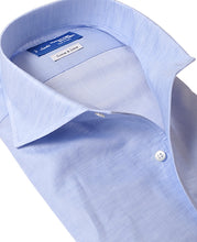 Load image into Gallery viewer, Close up of blue cotton and linen shirt