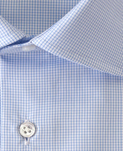 Load image into Gallery viewer, Close up of blue check cotton shirt