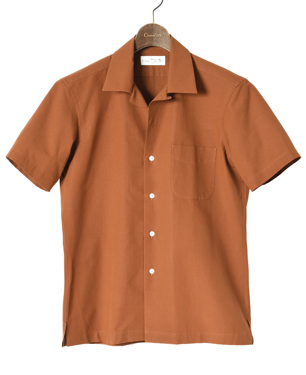 Orange Cotton and paper short sleeve shirt