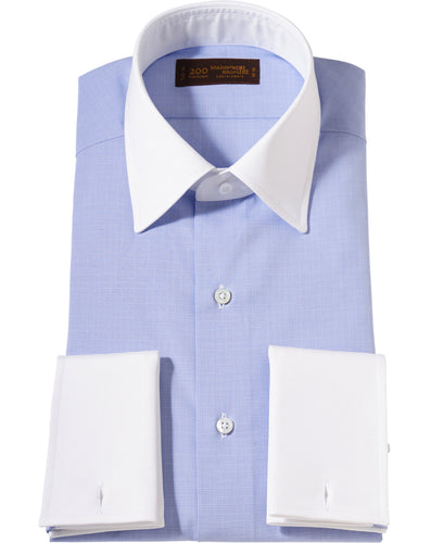 White contrast collar blue check cotton shirt