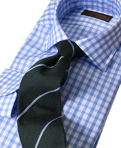 Blue check cotton shirt with tie