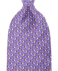 Purple patterned silk tie
