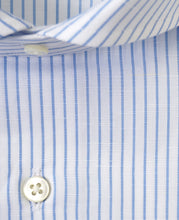 Load image into Gallery viewer, Close up of blue stripe cotton and linen shirt