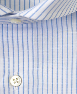 Close up of blue stripe cotton and linen shirt