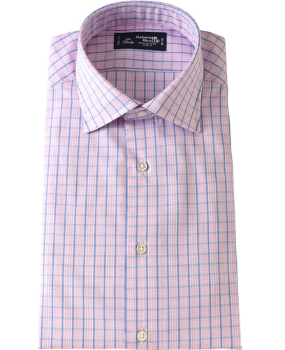 Pink check cotton shirt