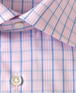Close up of pink check cotton shirt