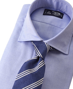 Blue cotton shirt with tie