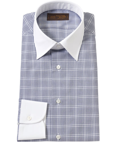 White contrast collar navy check cotton shirt