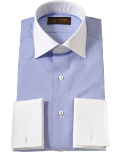 White contrast collar blue cotton shirt
