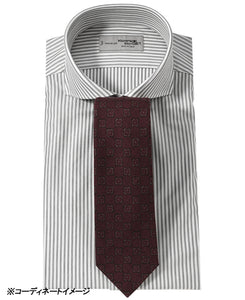 Gray stripe cotton and polyester shirt with tie