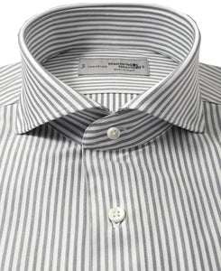 Close up of gray stripe cotton and polyester shirt