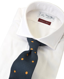 White cotton and cashmere shirt with tie