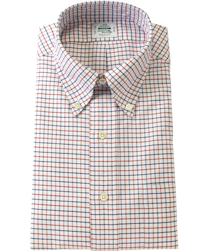 Blue and red check cotton shirt