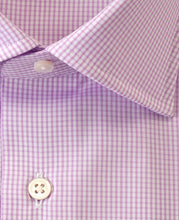 Load image into Gallery viewer, Close up of purple check cotton shirt
