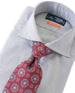 Navy check cotton shirt with tie