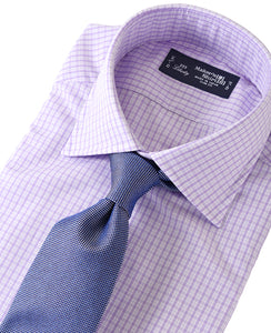 Purple check cotton shirt with tie
