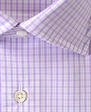 Load image into Gallery viewer, Close uo of purple check cotton shirt