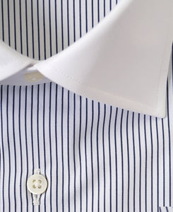 Close up of white contrast collar blue stripe cotton shirt