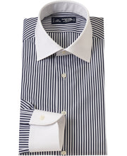 Load image into Gallery viewer, White contrast collar blue stripe cotton shirt