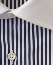 Load image into Gallery viewer, Close up of white contrast collar blue stripe cotton shirt