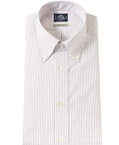 Brown stripe cotton and polyester shirt