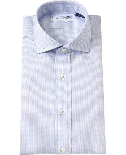 Blue houndtooth cotton shirt