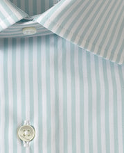 Load image into Gallery viewer, Close up of green stripe cotton shirt