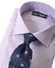 Load image into Gallery viewer, Purple stripe cotton shirt with tie