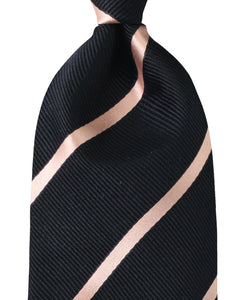 Close up of navy stripe silk tie