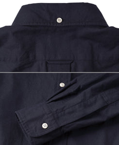 Close up of navy cotton shirt back