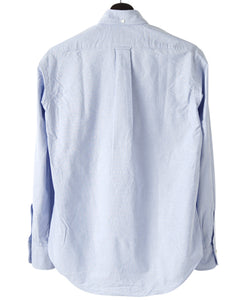Back of blue cotton shirt
