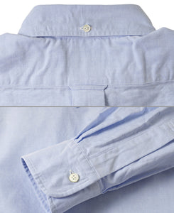 Close up of blue cotton shirt back