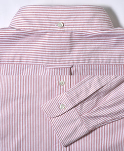 Close up of red stripe cotton shirt back