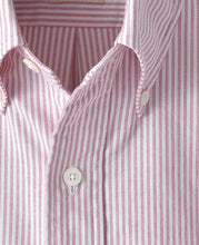 Load image into Gallery viewer, Close up of red stripe cotton shirt