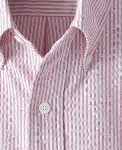 Close up of red stripe cotton shirt