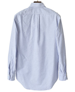Back of blue stripe cotton shirt