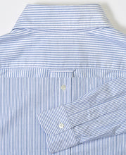 Load image into Gallery viewer, Close up of blue stripe cotton shirt back