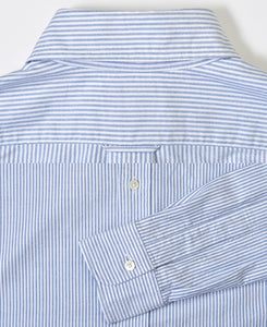 Close up of blue stripe cotton shirt back