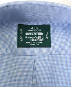 Close up of blue cotton shirt