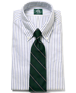 Blue stripe cotton shirt with tie