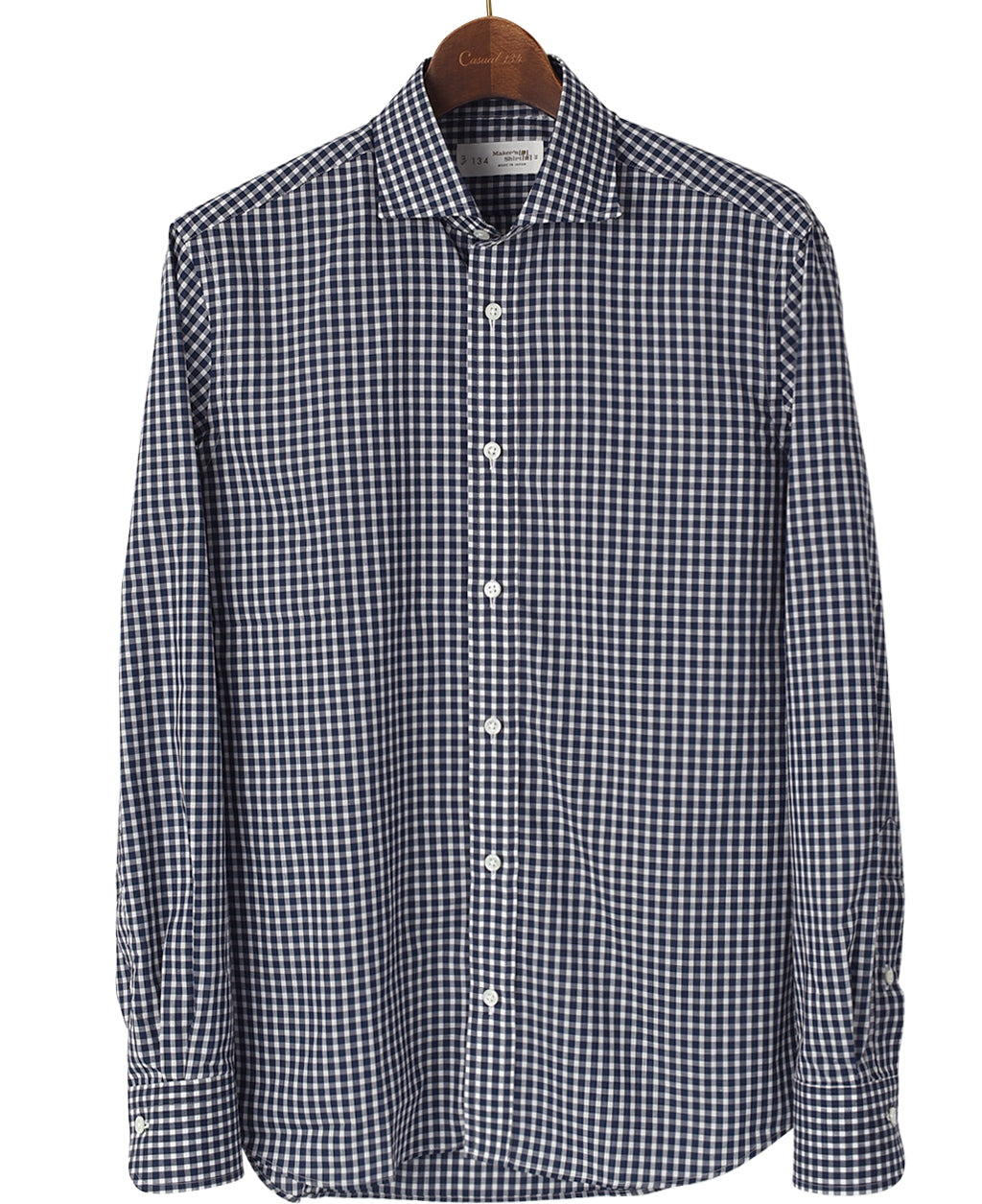 Navy check cotton shirt