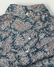 Load image into Gallery viewer, Close up of blue paisley cotton shirt back