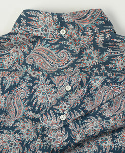 Close up of blue paisley cotton shirt back