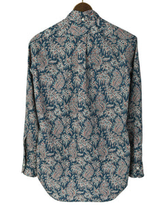 Back of blue paisley cotton shirt