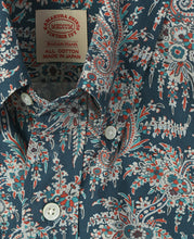 Load image into Gallery viewer, Close up of blue paisley cotton shirt