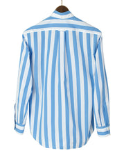 Load image into Gallery viewer, Back of blue stripe cotton shirt
