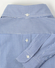 Load image into Gallery viewer, Close up of blue cotton shirt back